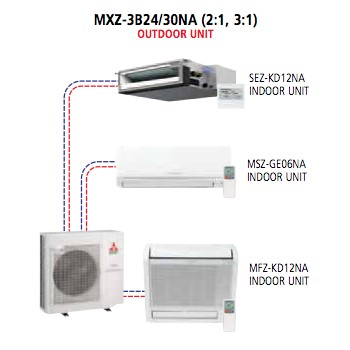 Mitsubishi - Mr Slim Multi Split System MXZ-3B24NA